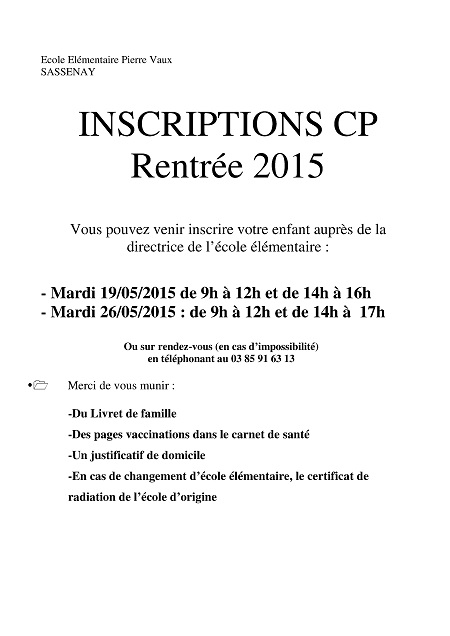 Inscription en Primaire 2015/2016