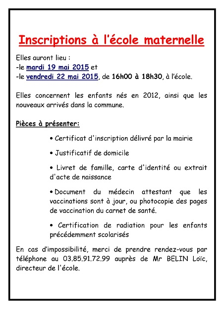 Inscription en Maternelle 2015/2016